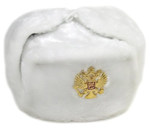 Authentic Russian Military White Ushanka Hat Soviet Imperial Eagle Size Large (Soviet Army Hat)