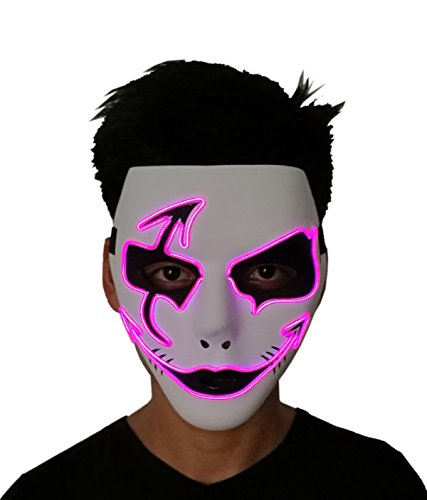 2017 Halloween Horror Light up Clown Mask - Scary Mask Halloween Cosplay Led Costume El Wire Mask (Rave Halloween Costumes 2017)
