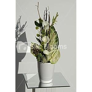 Modern Green & Cream Anthurium & Calla Lily Vase Display 59