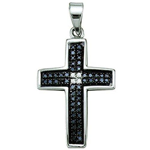 Dazzlingrock Collection 0.17 Carat (ctw) Round Cut Black & White Diamond Ladies Cross Charm Pendant, Sterling ()