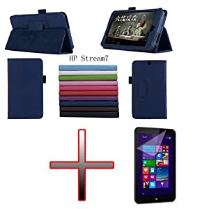 """Folio Leather Dock Holder Case Caso Etuis Cover + Film Screen For 7"""" HP Stream 7 Tablet Color Pink"""
