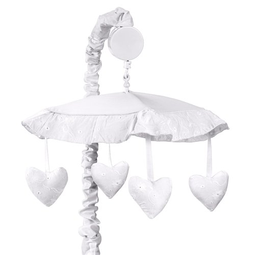 Sweet Jojo Designs Musical Baby Crib Mobile - White Eyelet ()