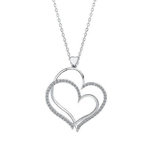 Isijie Jewelry Silver Plated Crystal Double Love Heart Shape Pendant Necklace,Nickel Free Hypoallergenic Gift Packing Necklace by Isijie Jewelry