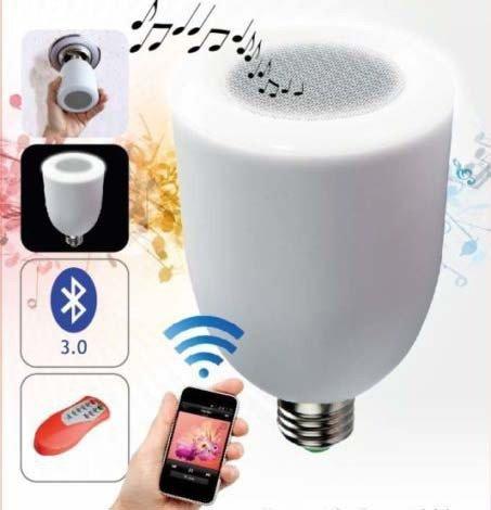 takestop® LAMPADINA LUCE LED 5W E27 CON SPEAKER CASSA BLUETOOTH MUSICA PER SMARTPHONE E TEBLET MOON 1002440