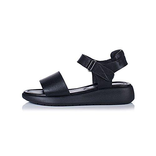 de Cuero Planas de Cuero Negro Sandalias Las de Open toed Señoras 5qaAgUx