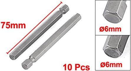 uxcell ドライバービット ヘックスドライバービット 六角ドライバービット 磁性 金属 メタル 両頭 6mm 六角 磁気