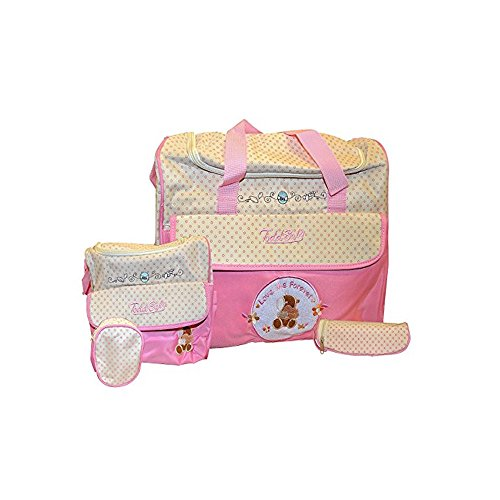 Todd Baby Brand New 5pc Bottle Food Bag Holder Set Diaper Nappy Changing Stylish Designed Strap Baby-Care Shoulder Bag (Pink)