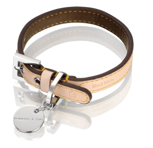 (Hennessy & Sons Hand Made Natural LV Leather Dog Collar with Chocolate Brown Lining, 38-46 x 2.2 x 0.3 cm, 66 g, Natural Tan)