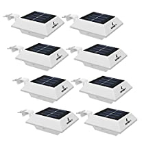 [6 Pack] Easternstar Outdoor Solar Gutter Lights,3 LED Waterproof Security Bright Wall Mounted Solar White Lamp for Indoor Outdoor Garden Yard Fence Walkway Pathway Driveway Garage - Anywhere SafetyLite