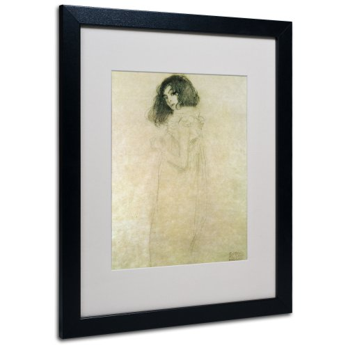 Portrait of a Young Woman 1896-97 Artwork by Gustav Klimt in Black Frame, 16 by 20-Inch