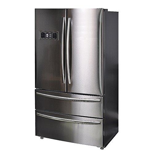 SMETA Freestanding Depth French Door Refrigerator Family Size Food Storage Stainless Steel 20.66 cu ft Counter Depth Freestanding Bottom Freezer