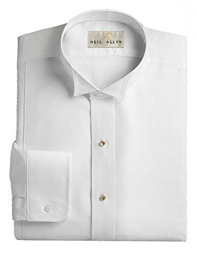 Wing Collar Tuxedo Shirt, Pique Bib Front, 65% Polyester 35% Cotton White (16 - 32/33) (Uniform Plain Front)