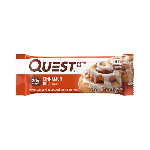 Quest Nutrition Cinnamon Roll Protein Bar, High Protein, Low Carb, Gluten Free, Soy Free, Keto Friendly, 12 Count ()