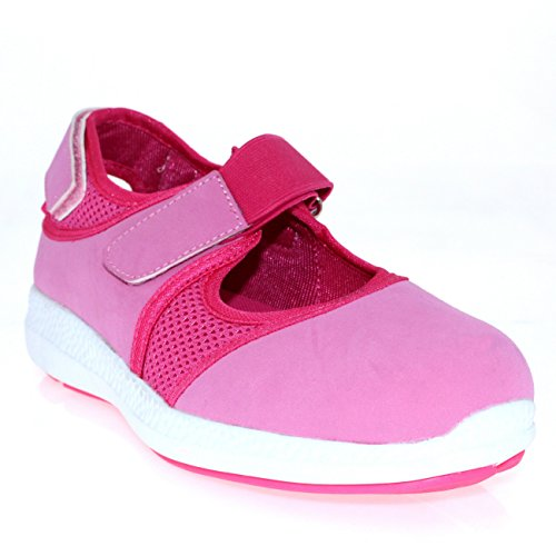 Womens Cut Out Velcro Strap Sport Walking Lightweight Mary Jane Trainers Pink/White NFUrgfD