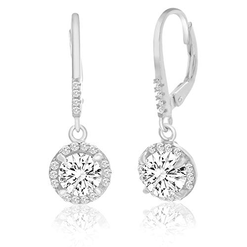 MIA SARINE Round Dangle Drop 1-1/2 Cttw Cubic Zirconia Bridal Leverback Earring in 925 Sterling Silver