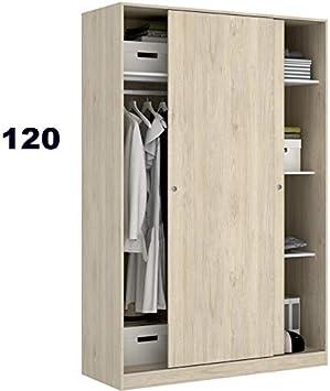 HABITMOBEL Armario Puertas correderas 120 cm de Ancho Alto 204cm Color Natural