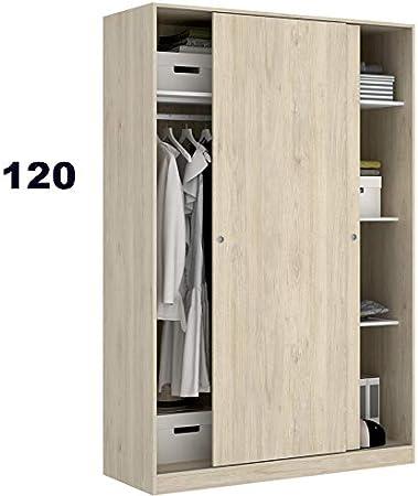 HABITMOBEL Armario Puertas correderas 120 cm de Ancho Alto 204cm Color Natural: Amazon.es: Hogar