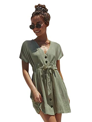 (Simplee Women's V Neck Button Down Short Sleeve Waist Belted Mini Dress Celadon 8)
