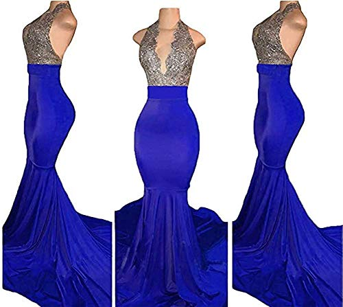 WiWiBridal Women's Long Mermaid Halter Beaded Bodice V-Neck Backless Prom Evening Party Dress