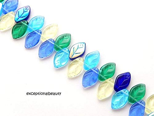 (50 Assorted Lagoon Mix Color Preciosa Czech Glass 12x7mm Leaf Leaves Drop Beads)