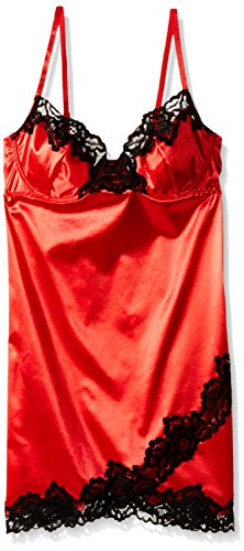 Dreamgirl Women's Stretch Satin Underwire Chemise with Demi Cups, Lipstick Red, Medium (Underwire Satin Stretch)