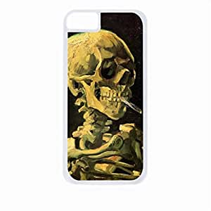 Wishing Vincent Van Gogh Skull of A Skeleton With A Burning Cigarette- Case for the Apple Iphone 5C-Hard White Plastic Outer Shell with Inner Soft Black Rubber Lining