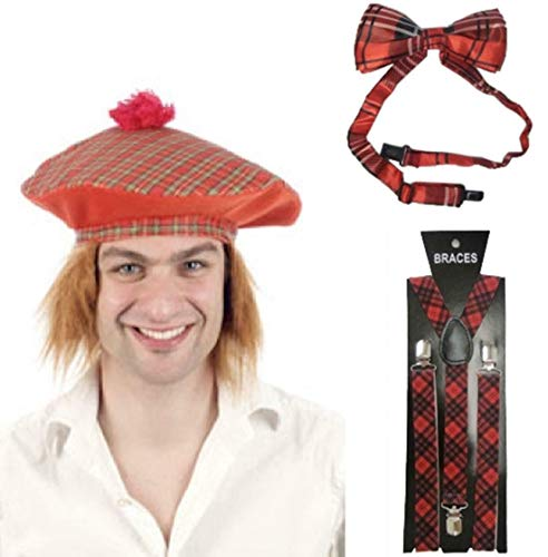 My Choice Stuff Adults Fancy Braces and Tartan Hat Bow Tie Mens Scotish Scots Party Accessory One Size -