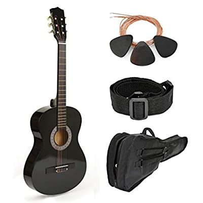"38"" Black Wood Guitar With Case and Accessories for Kids/Boys / Teens/Beginners"