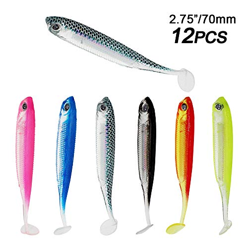 GUYOUKE - Rubber Soft Fishing Baits, Worm Artificial Lures, Minnow Swimbaits with T-Type Paddle Tail Realistic Color Shad Fishing Lure for Bass Trout Pike Walleye