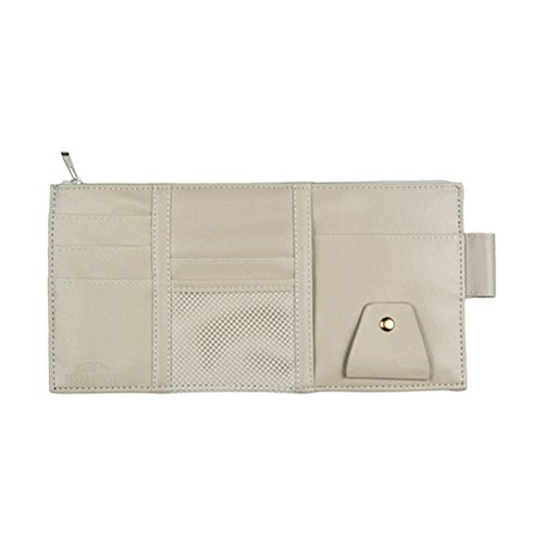 Vankcp Car Sun Visor Organizer, Auto Interior Accessories Sunglass Pen CD Card Small Document Storage Pouch Holder, PU Leather, Multi-pocket with Zipper Net (Gray) by Vankcp