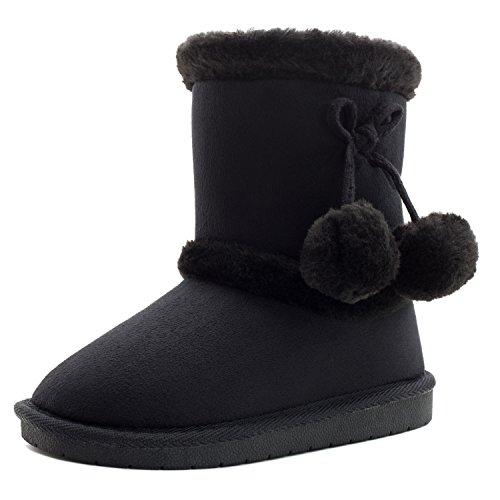 Girls Faux Fur lining Pom Pom Ankle Boots, Black, 12 M US Little Kid