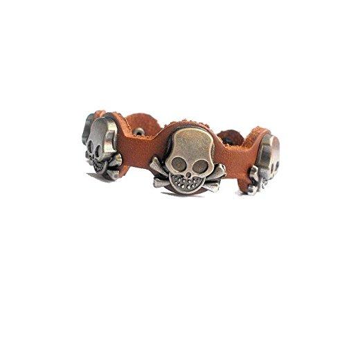 Bracelet Homme 5 têtes de mort marron
