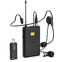 Micrófonos inalámbricos para computadora, sistema de micrófono inalámbrico USB FIFINE para PC y Mac, sistema inalámbrico UHF para auriculares con receptor USB, transmisor, auriculares y clip Lavalier Lapelier Mic-K031B