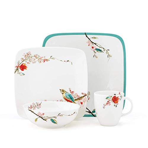 Lenox Simply Fine Chirp Square 4-Piece Place Setting, Service for One (Platter Square Lenox)