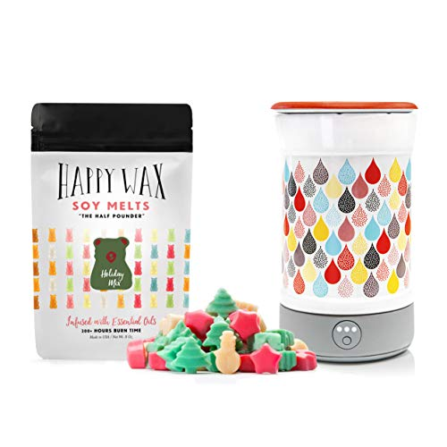 Happy Wax Wax Warmer & Wax Melts Starter Kit - Enjoy Our Patent Pending Signature Warmer in Teardrop + 8 oz. Scented Soy Wax Melts, Holiday Mix [Evergreen Trees, Snowman ()