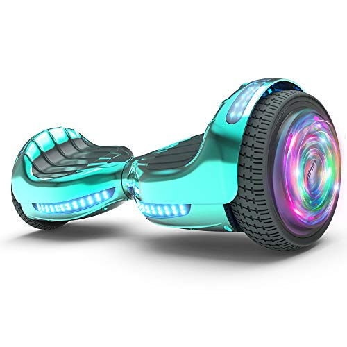 "Hoverboard UL 2272 Certified Flash Wheel 6.5"" Bluetooth Speaker with LED Light Self Balancing Wheel Electric Scooter (Chrome Turquoise)"