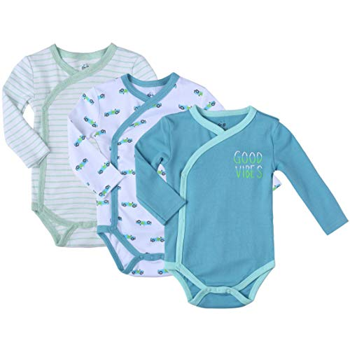 Clothes Baby Kimono Side Snap Onesie Boy Long Sleeve Bodysuit Organic 9-12 Month