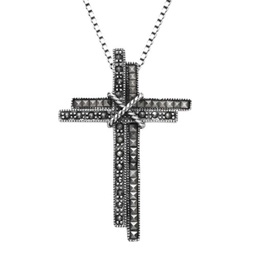 Wild Things Sterling Silver Double Latin Cross Pendant w/Marcasite Stones & 20