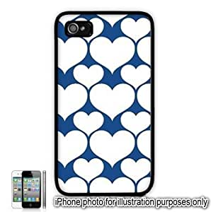 Blue White Hearts Love Monogram Pattern Apple iPhone 4 4S Case Cover Skin Black