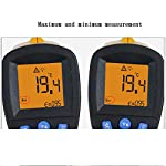 DEYE Infrared Thermometer,Dual Laser Digital Infrared Thermometer-20°C-380°C with Adjustable Emissivity Non-Contact Voltage Tester for Meat Refrigerator Pool Oven(Orange)