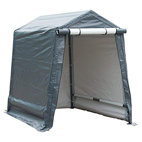 Abba Patio Storage Shelter 6 x 8- Feet Outdoor Carport Shed Heavy Duty Car Canopy, Grey ()