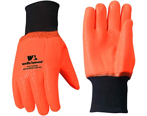 (Chemical Resistant Cold Weather Work Gloves, PVC Coated, High Visibility, One Size (Wells Lamont 164))
