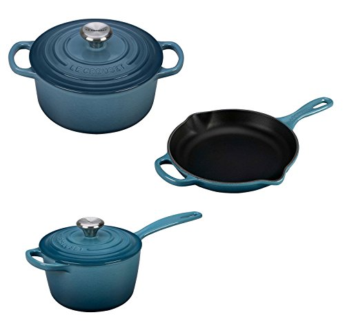 Le Creuset 5 Piece Enameled Cast-Iron Condo Cookware Set - Marine
