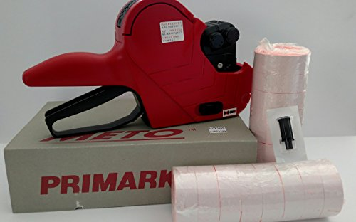 Primark P16 / 2 Line Price Labelgun (Alpha/numeric), Value Pack, Pricing Gun,box Fluro Red Labels, Ink Roller by Meto