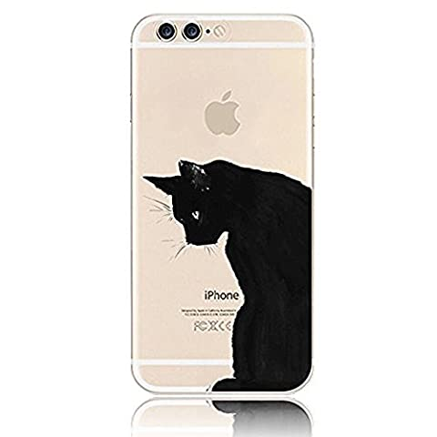 Sunroyal iPhone 7 Plus 5.5 inches Flexible Transparent Soft Clear Slim TPU Ultra-thin Cute [ Anti-dust Shock-resistant]Silicone Protective Phone Cover Case Mysterius Cute Black Cat (Wing Phone Covers)
