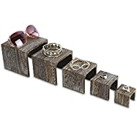 """Mooca 5 Pieces Wooden Multi Functions Jewelry Display Stands, Figurine Stand Risers, Retail Display Risersr, 3 7/8"""" H, 3 1/2"""" H, 2 3/4"""" H, 2"""" H, 1 1/2"""" H"""