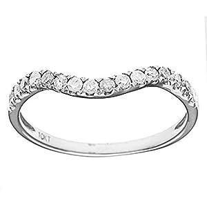 10k White Gold Curved Diamond Wedding Band (1/5 cttw, I J Color, I2 I3 Clarity)