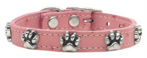 Mirage Pet Products Faux Ostrich Paw Leather Pink Dog Collar, 12""