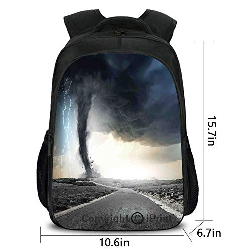 men and women General purpose Backpack,Black Tornado Funnel Gas and Lightning Rolling on the Road Fume Disaster Monochrome Print,School bag :Suitable for men and women,school,travel,daily use,etc.Grey