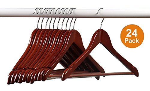 Home-it (24) Pack Solid Wood Clothes Hangers, Coat Hanger Mahogany Wooden Hangers -
